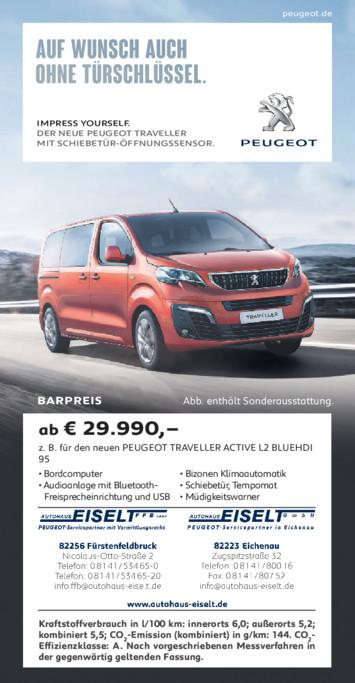 Barpreis Angebot Peugeot Traveller aus der Print Werbung Autohaus Eiselt